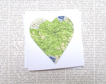 France map greeting card: heart shaped vintage map featuring France. Card for birthday, anniversaries, wedding, new home.