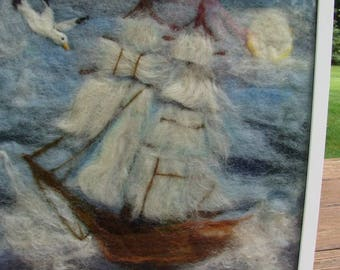 Needle Felted Painting, Needle Felted Wool Painting, Felted Picture, Wool Picture, Ship, Ocean, Wool Painting