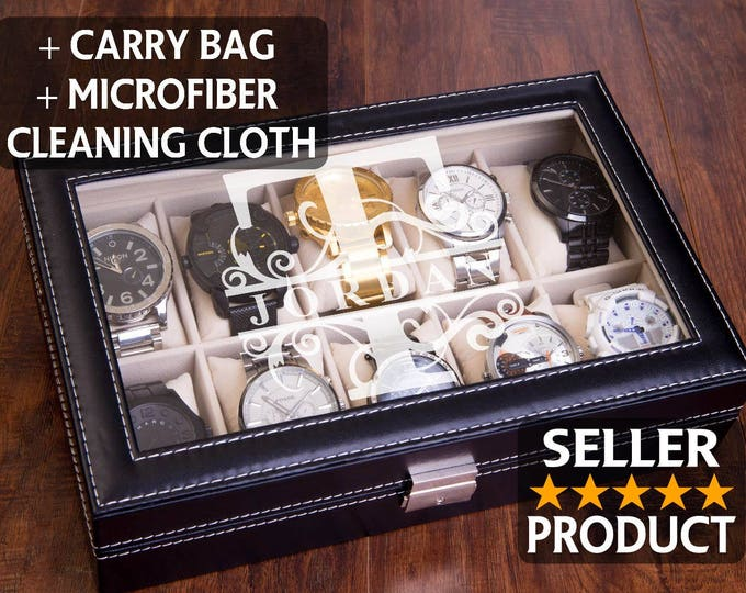 Dad Gift Watch Box, Men's Gift, Engraved Watch Case, #1 Dad Gift, Man Gift, Watch Display, Personalized & Custom, Jewelry Organizer