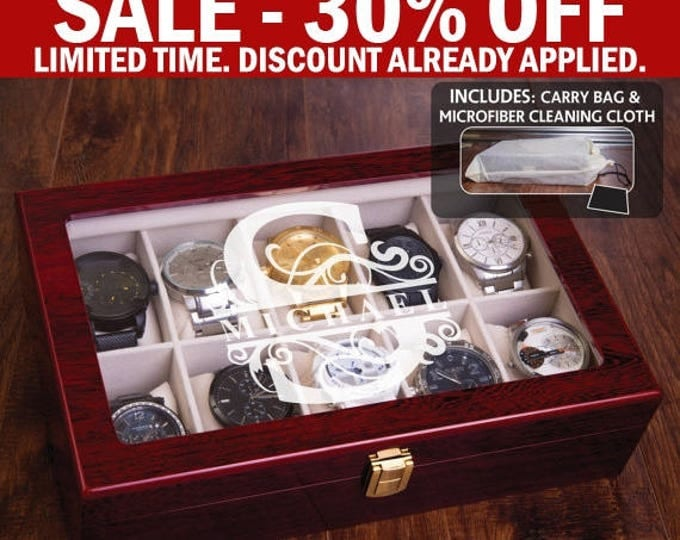 Luxury Watch Box, Man Watch Gift Set, Personalized Watch Case, Engraved WatchBox, Mahogany Finish, Groomsman Groomsmen Gift, Jewelry Box