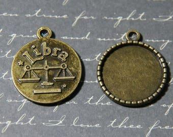 2 round cabochons charms sign Zodiac LIBRA 24x28mm