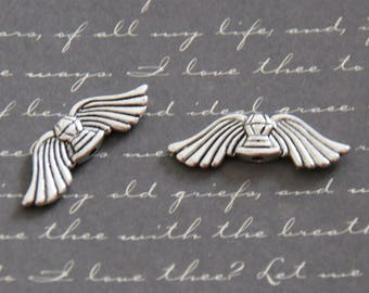 2 large beads silver-plated 30x10mm wings