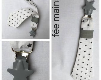 Pacifier clip tie printed cotton fabric stars