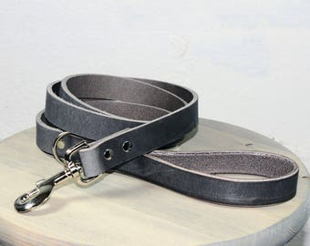 Gray Thick Leather Dog Leash