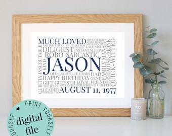 Personalised 40th BIRTHDAY GIFT - Word Art - Printable Gift - Sister - Gifts for Women - Gift for Man - Gift for Husband - Gift for Dad