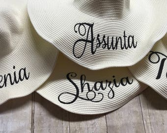 Custom beach hats with name, monogram and/or trim