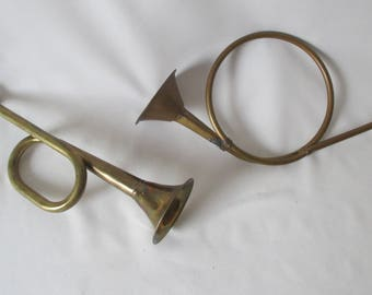 2 Sm Vintage Decorative Brass Horns ~ Bugle & French Hunting Horn ~ Rustic Decor