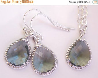 SALE Bridesmaid Jewelry, Grey Earrings and Necklace Set, Charcoal, Gray, Sterling Silver, Wedding Jewelry, Dangle, Gift, Bridesmaids Set, Pe