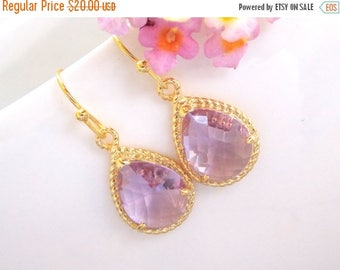 SALE Wedding Jewelry, Bridesmaid Jewelry, Lavender Earrings, Lilac, Violet, Purple, Weddings Gifts, Bridesmaid Gifts,Gold Earrings, Dangle,