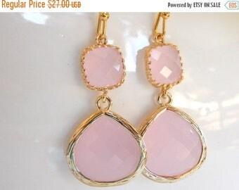 SALE Wedding Jewelry , Ice Pink Earrings, Gold, Pink, Soft Pink, Pale Pink, Bridesmaid Gifts, Bridesmaid Jewelry, Dangle, Drop, Wedding Gift