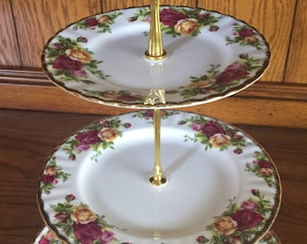 Royal Albert cake stand Old Country Roses three tier tidbit tray