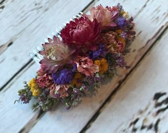 Pink Floral Comb.  Dried Flowers, Made in any colour, Wedding Hair Piece, Bride, Bridesmaid, Flowergirl, Flower Clips Accessory