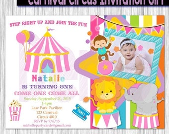 50% Off Carnival Circus Invitation Girl-Circus Girl invitation-carnival girl invitation-carnival pary-circus invite-Available in 5x7 or 4x6