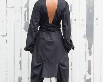 SALE Extravagant Black Shirt / Asymmetric Shirt / Open Back Shirt / Plus Size Available