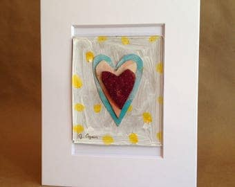 Collage Painting - Rumpled Heart #52