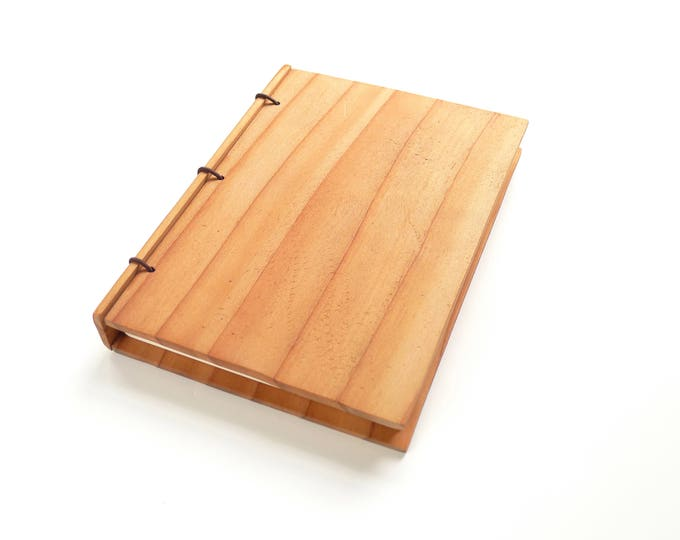 Featured listing image: Redwood Wooden Notebook, Wooden Wedding Guestbook, Wood Journal, Engraved Notebook, Wooden Sketchbook, Custom Journal, Travel Notebook- 5x7