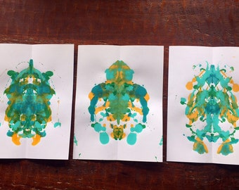 Set of 3 Teal Mermaid Inkblot Prints on Heavy Cream Paper