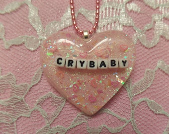 Kawaii Crybaby Resin Heart Necklace