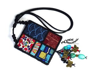 Bohemian necklace embroidered Japanese and liberty fabric