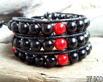 Bracelet wrap 3 turns Man, black leather, black wood, red baked porcelain, Boho jewelry, By Dodie