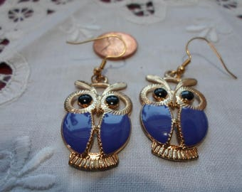 Owl Earrings Blue Dangle Made in Vermont Made in USA FREE SHIPPING