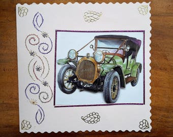 Old car - hand made 3D card