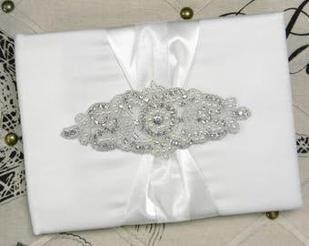 Wedding Guest Book and Pen Set, Pearl and Rhinestone Crystal Wedding Guestbook, Ivory or White Satin Guest Book, Wedding Bridal Shower Book