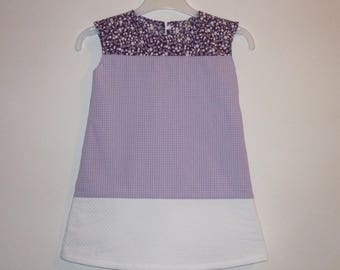Baby dress, purple and white, flowers and grid pattern, size 18 months