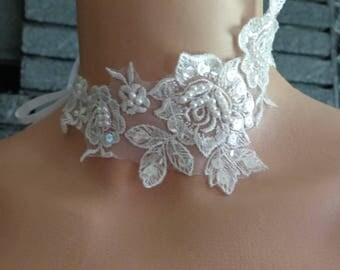 soft white lace beaded wedding necklace