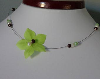 lime green silk flower necklace wedding maid of honor communion girl