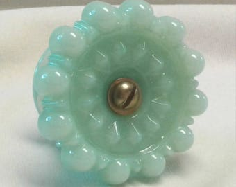 Victorian Style Drawer Pull or Door Knob in Jade Green Glass