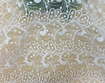 Lace tulle white yellow nylon flowers 5 m.