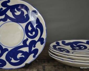 4 Royal Cauldon Blue Scroll Saucers