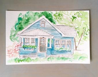 Custom Home Portrait, Watercolor Painting, Digital Painting, House Painting, Housewarming Gift, New Home, Home Decor, Keepsake
