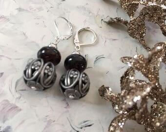 Earrings ' ear romantic filigree beads and garnets