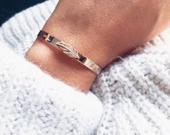 Feather plated Bangle Bracelet gold 750 - gold plated bangle