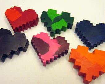 Set of 6 Colorful Pixel Heart Crayons