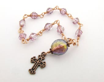 Catholic Rosary Beads - Handmade Unbreakable Wire Wrapped Pink One Decade Rosary Tenner - Pocket Rosary - Copper Rosary - Catholic Gift