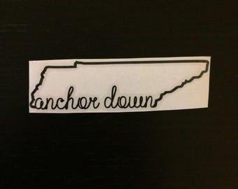 Custom Vinyl Decal | Tennessee Outline with Anchor Down Script | Vanderbilt University, Vandy, Commodores, VU