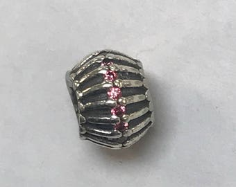 100% Authentic Pandora 925 ALE Sterling Silver Lined Pink CZ Charm Bead
