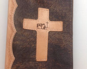 Handcrafted Hair-on-Hide and Leather Bible Cover