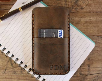 Personalized iPhone X Case, Leather iPhone X case, iPhone Case with Card holder, iPhone X Wallet Case, Rustic Brown Leather - IPX-39BR
