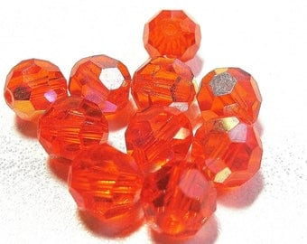 27 ROUND BEADS 8 MM IRIDESCENT ORANGE NACKLACE