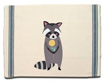 Raccoon with Flower Kitchen Towel Raccoon lovers gift Tea Towel Flour Sack Material Woodland Animals Dish Towel Whimsical Towel Dish Cloth