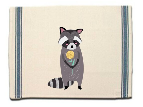 Raccoon with Flower Kitchen Towel Dish Towel  Tea Towel  Flour Sack Material Woodland Animals Dish Towel Flour Sack Kitchen Towel Dish Cloth