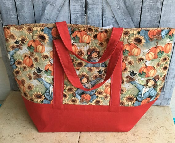 Autumn Scarecrow Tote Bag|Susan Winget Canvas Tote Bag|Canvas Bag|Tote Bag |Project Bag|Knitting Project Bag|Crochet Bag|Toad Hollow bags