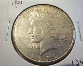 1922 S Peace Silver Dollar