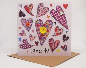 Cerdyn Santes Dwynwen / San Ffolant 'Caru Ti' Cymraeg | Welsh St Dwynwen / Valentines Card 'Love You'