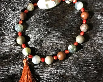 Jasper and agate beaded stretch stackable bracelet with tassel