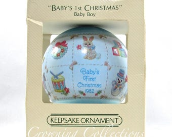 1982 Hallmark Baby's First Christmas Ornament Boy Satin Ball Unbreakable 1st MIB Blue Vintage Keepsake HTF